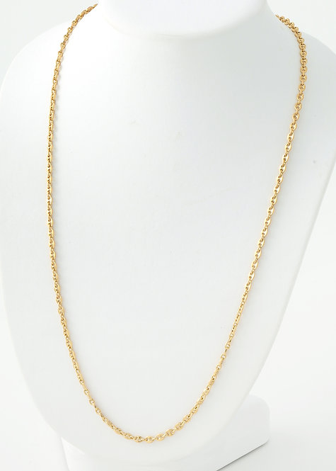 Unisex Solid Anchor Link Necklace, 18K Yellow Gold 28""