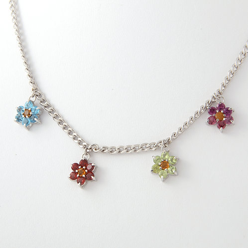 Multi Gemstone Dangling Flower Necklace 18K White Gold