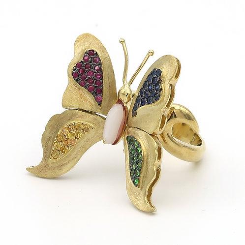 Butterfly Ring 18K Yellow Gold Multi Sapphire & Tzavorite Garnet