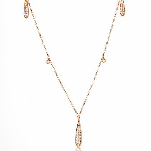 Delicate 18K Rose Gold Hanging Diamond Tear Drop Necklace