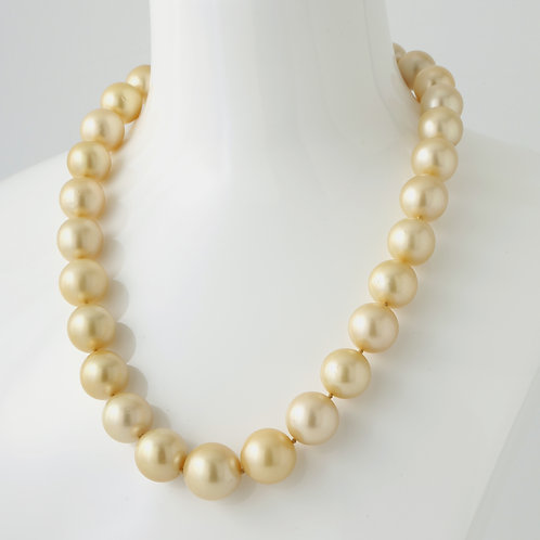 Golden South-Sea Pearls 16.6-12mm 18K White Gold Pave Diamond Ball Clasp