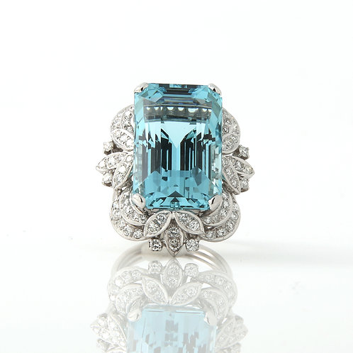 Vintage 1970's Cocktail Ring, 26.5 ct. Aquamarine Platinum & Diamonds
