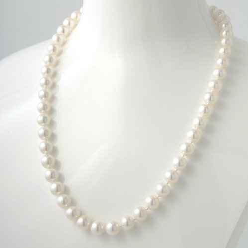 Mikimoto 8- 8.4mm Strand Akoya Pearl Necklace White Gold Clasp