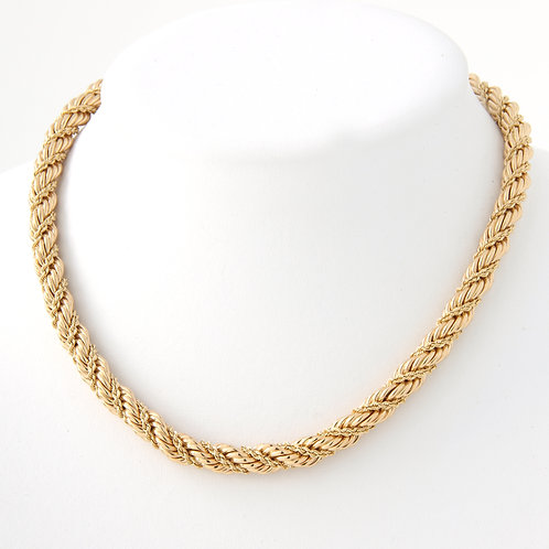 Vintage Tiffany & Co. Double Twisted Rope Chain 14K Yellow Gold, Mid Century