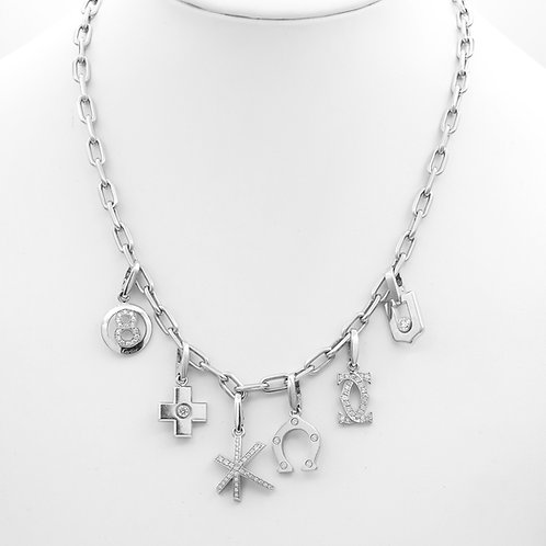 Cartier Multi-Charm Necklace 18k White Gold/Diamonds