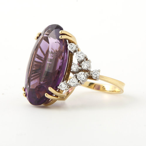 H. Stern 1960's Amethyst & Diamond Cocktail Ring