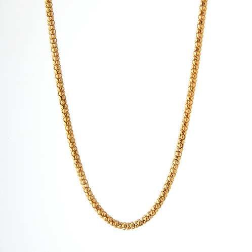 "18K Yellow Gold Popcorn Chain 3.5mm, 18"" 14.9 gm"