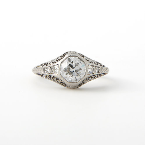 Antique, Edwardian Hand Engraved  Diamond Engagement Ring 0.85 CT, E color PLAT