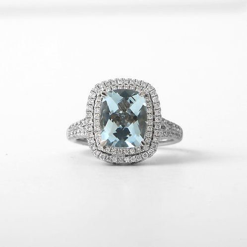 Charles Krypell Aquamarine Ring with Double Diamond Halo and Sapphires 18K White