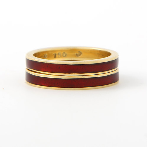 Hidalgo Red Enamel Stacking Bands 3.0mm 18K Yellow Gold