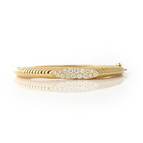 French, Ribbed Diamond Bangle Bracelet 18K Yellow Gold