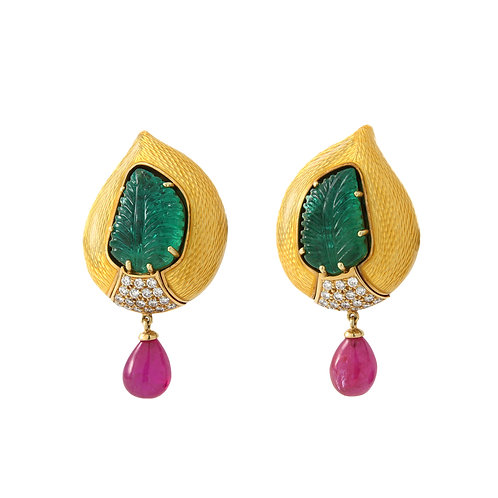 De Vroomen Enamel Earrings Diamonds/Emeralds/Ruby