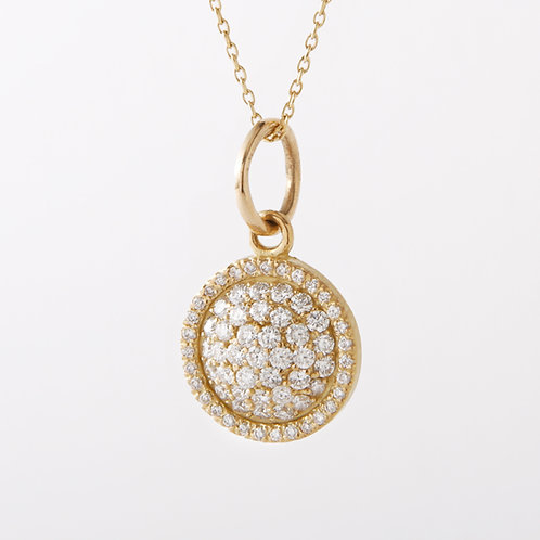 18K Yellow Gold Pave Diamond Disc