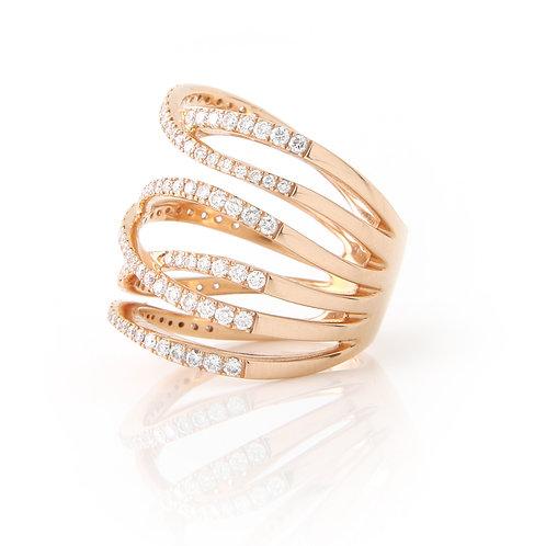 Multi Row Diamond Crossover Ring 18k Rose Gold & Diamonds