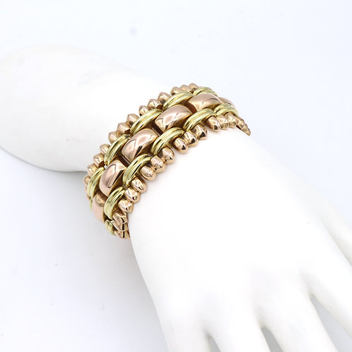 Large, Estate Retro Era, Bracelet 18K Rose & Yellow Gold Circa 1940's