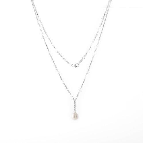 Mikimoto Pearl & Diamond Pendant 18K White Gold