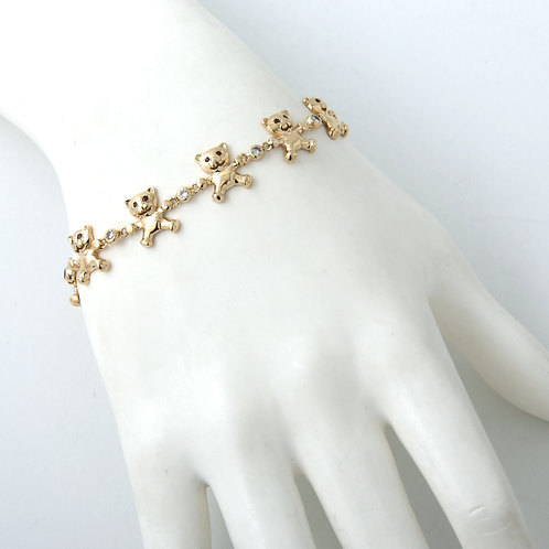 Teddy Bear Bracelet 14k Yellow Gold Diamond & Ruby