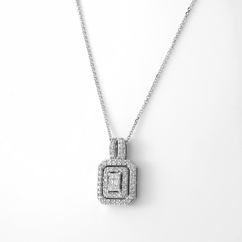 Rectangular, Double Halo Diamond Pendant 14K White Gold 1.50 CTTW
