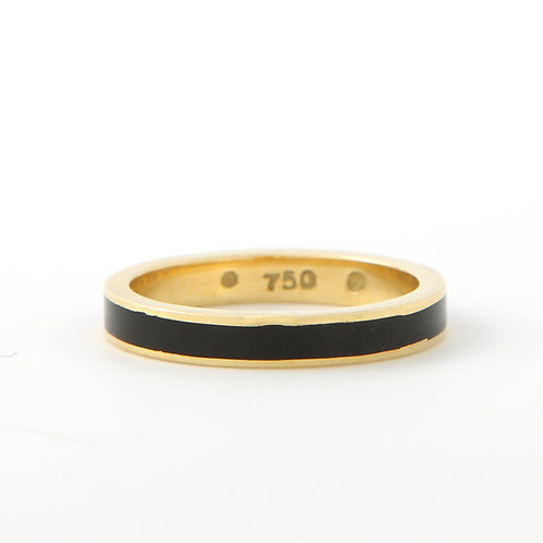 Hidalgo Black Enamel Stacking Band 3.0mm 18K Yellow Gold