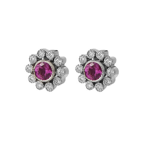 Tiffany & Co. Pink Sapphire & Diamond Flower Earrings Platinum