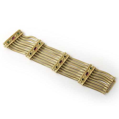 Seidan Gang 18K Etruscan Style Wide Snake Chain Bracelet Tourmaline
