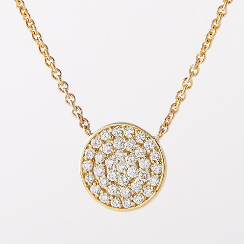 14K Yellow Gold Flat Pave Diamond  Disc