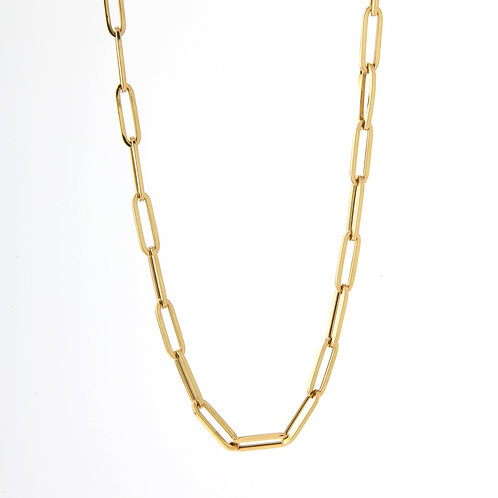 Paper Clip Chain/Necklace 18K Yellow Gold, 24""