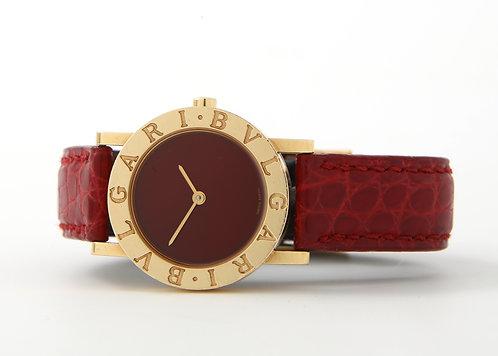 Bvlgari-Bvlgari Ladies Watch 18K Gold, Red Strap & Red Dial, Quartz