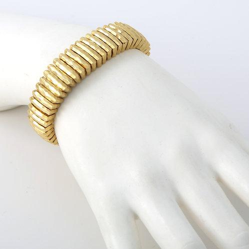 Henry Dunay, Vintage 18K Solid,  Faceted Gold Bracelet 106g.