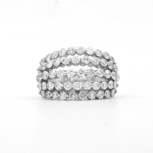 Multi Row Diamond Band, 18K White Gold