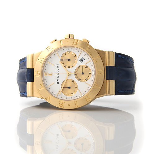 Bvlgari Chrono CH35 G 18K Yellow Gold Wrist Watch, Blue Strap