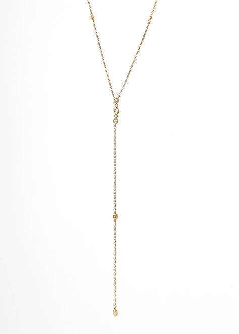 Delicate 18K Yellow Gold Lariat Necklace w/Diamonds
