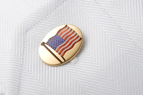 18 k and enamel American flag cuffInks