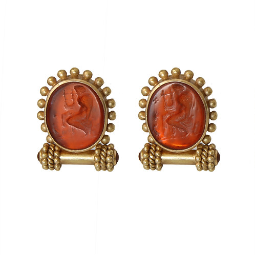 Elizabeth Locke Amber Color Intaglio Earrings Post/Clip 19K