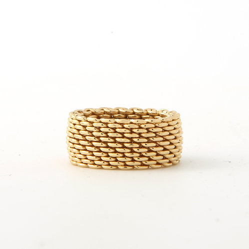 Tiffany & Co. Somerset Mesh Ring, 18K Yellow Gold Band 10mm
