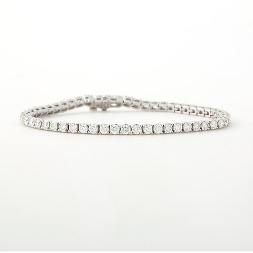 Diamond Straight Line, Tennis Bracelet, 5 carat, Platinum, NEW