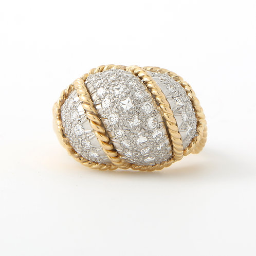 Diamond Pave Bombe Dome Ring, French Cuts, 18K, Expandable Shank
