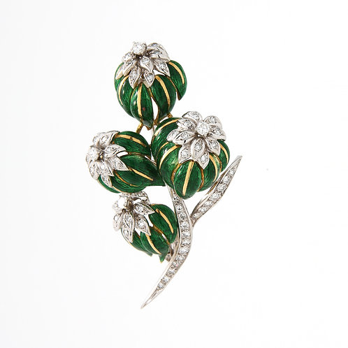 Mid Century Flower Bouquet Brooch, Diamonds/Green Enamel 18K