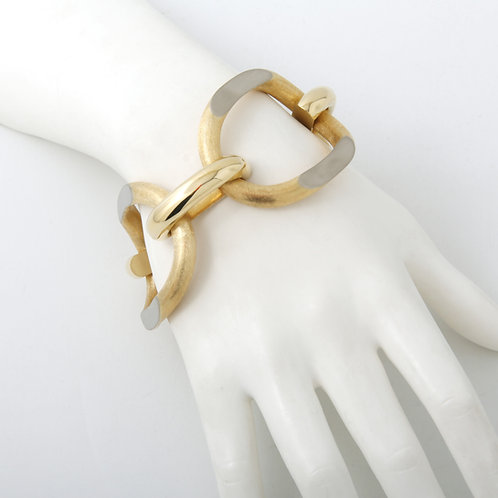 Contemporary Wide Link Bracelet 18K Yellow Gold