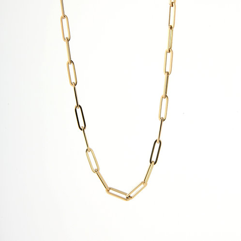Paper Clip Chain/750 14K Yellow Gold, 24""