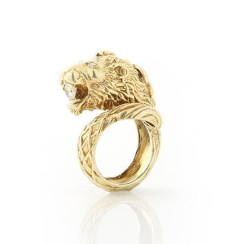 1970's Lions Head Ring 18k Yellow Gold & Diamonds