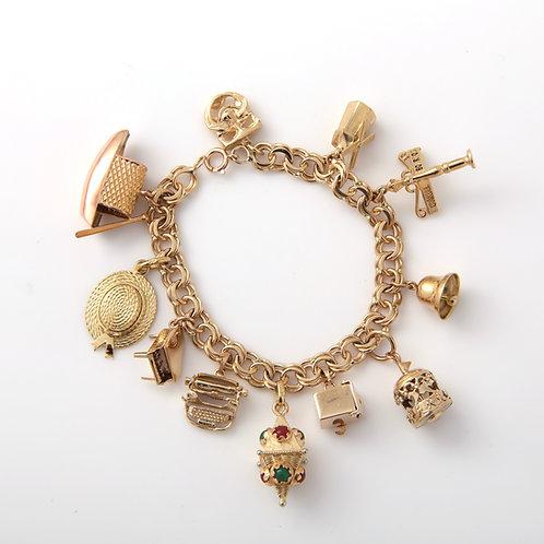 Mid-Century 14K Gold Charm Bracelet