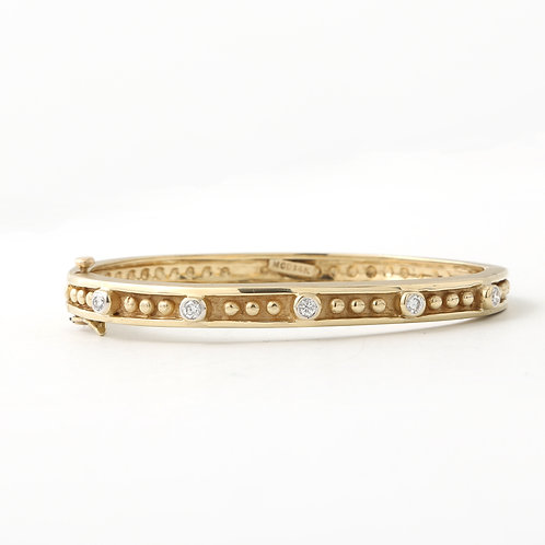 Five Diamond Station Bangle 14K Matte/Shiny Yellow Gold