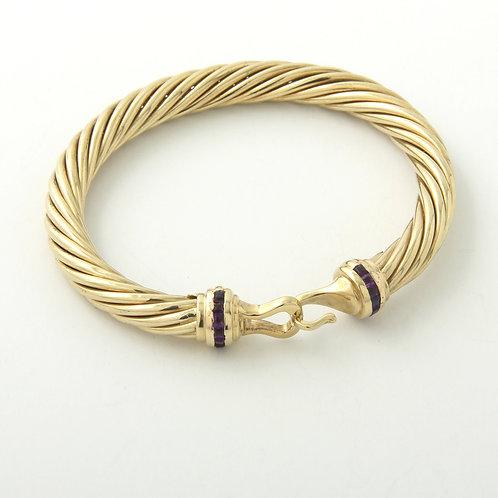David Yurman 14k Gold Classic Buckle Bangle Bracelet Amethyst