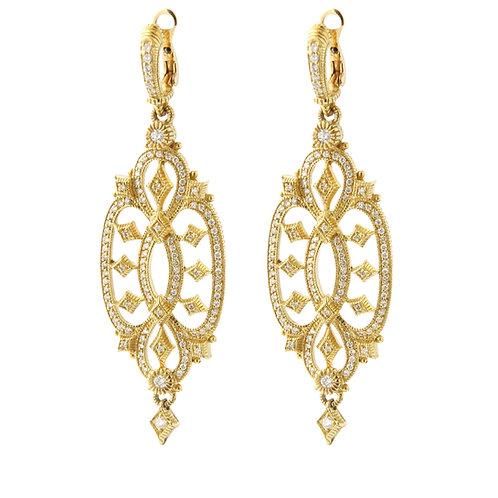 "udith Ripka, Large ""Castle"" Diamond Drop Earrings 18K Yellow Gold"