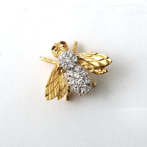 Rosenthal Diamond Bumble Bee Brooch 18K Yellow Gold