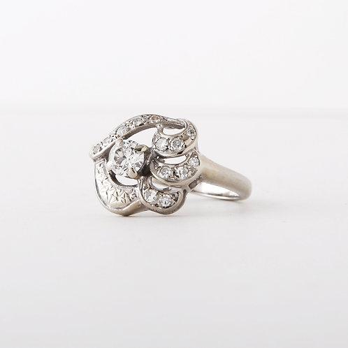 Vintage 1950's 14K Cocktail Ring/Diamonds