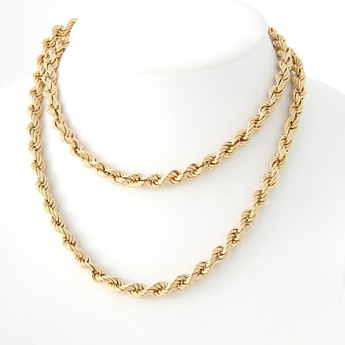 Vintage 7mm Rope Chain, 14k Yellow Gold
