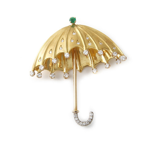 Umbrella Brooch with Diamonds and Emerald 18K Yellow Gold