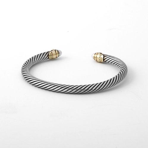 David Yurman 5mm Classic Cable Cuff Bracelet 14k/Sterling w/ Pearls